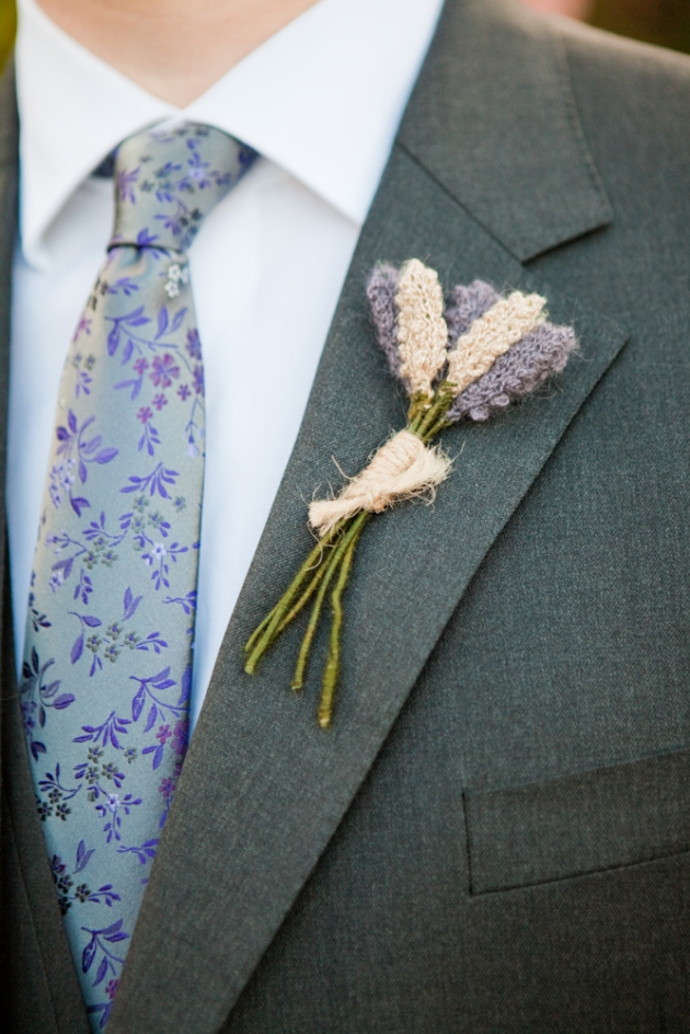 Knitted lavender boutonnière buttonhole