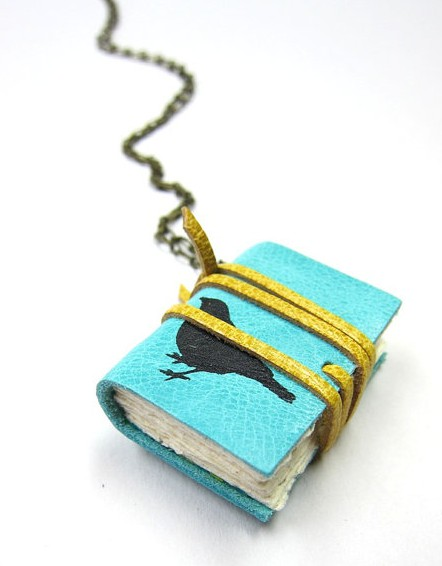 Nicopapergoods Leather Book Necklace